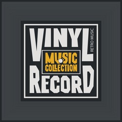 Vector music banner with square label for vinyl record with words Vinyl record, Music collection. Suitable for music poster, flyer, invitation, cover in retro style