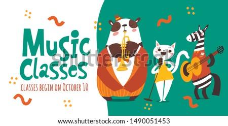 vector music classes flyer
