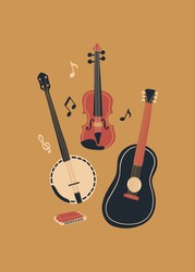 Vector music design with banjo, acoustic guitar, violin, notes and harmonica. Cartoon doodle illustration for invitation, card, poster, print or flyer.