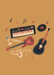 Vector music design with synthesizer, bass guitar, acoustic guitar, vintage microphone, vinyl, drum sticks, notes, trumpet . Cartoon doodle illustration for invitation, card, poster, print or flyer.