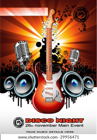 VECTOR Music Event Background with a colorful Electric Guitar