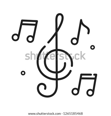 Vector music icon notes and melodies. Illustration of music symbol in flat style.