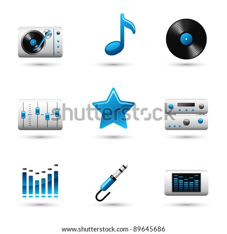 Vector music icon on white background