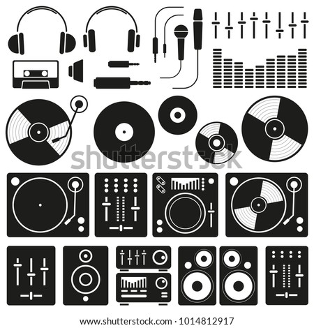 Vector Music icon set on white background. Icons of Dj staff and any equipment set. Vector music technology and accessories objects elements collection design concept Сток-фото ©