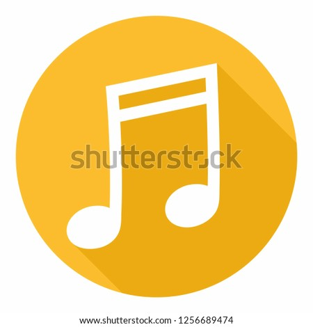 Vector music icon sign melody. Illustration of melody note symbol in flat style.