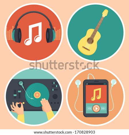 Vector music icons and signs in flat style - headphones, guitar, turntable and mp3 player