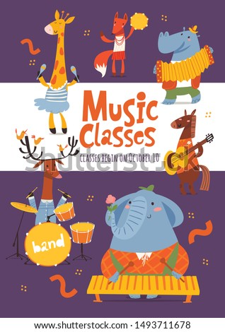 vector music lessons or classes