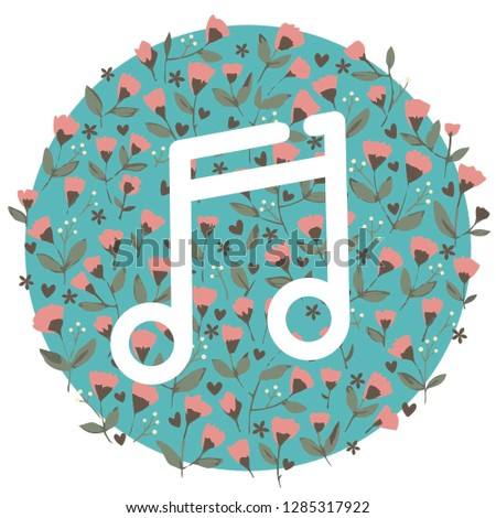 Vector music melody icon. White musical note on flower pattern background. Illustration of musical note in flat minimalism style.