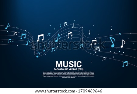 Vector music melody note dancing flow . Concept background for song and concert theme. Stock photo ©