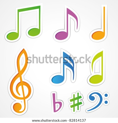Vector music note icon on sticker set.
