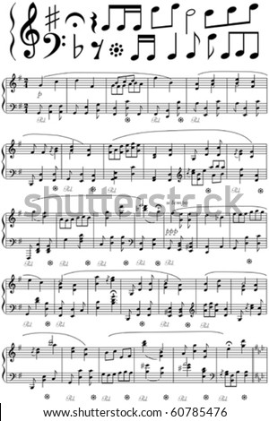 Vector music note sheet