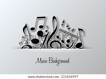 Vector Music Notes Background For Poster Or Card Design