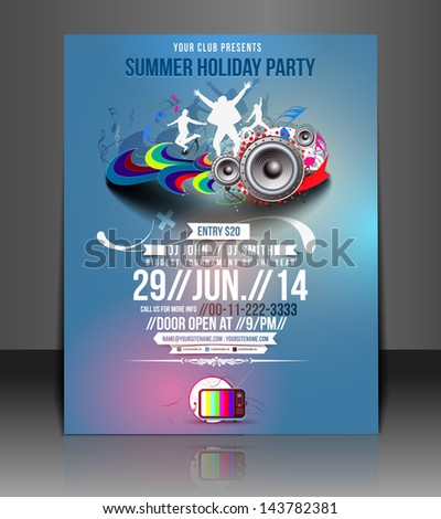 Vector Music Party Flyer Magazine Cover & Poster Template
