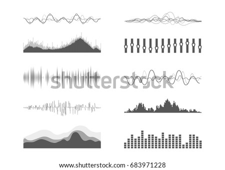 vector music sound waves set