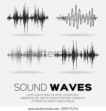 vector music sound waves set