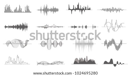 Vector music sound waves shapes isolated collection