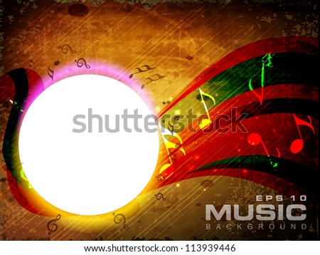 Vector musical background with musical notes and waves and copy space for your text. EPS 10. can be use as flyer, banner, poster or template for musical events and other occasions.