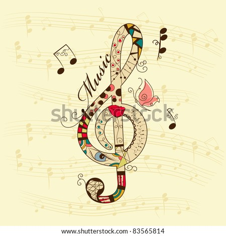 Vector musical background with treble clef