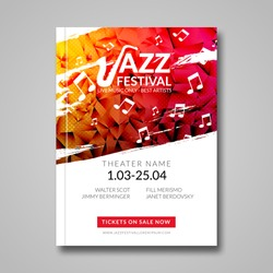 Vector musical flyer Jazz festival. Music poster background festival brochure flyer template.