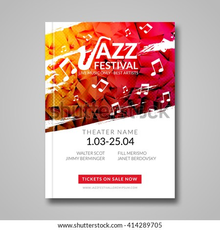 Vector musical flyer Jazz festival. Music poster background festival brochure flyer template.