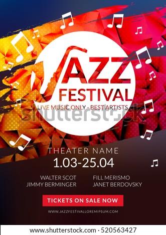 vector musical flyer jazz