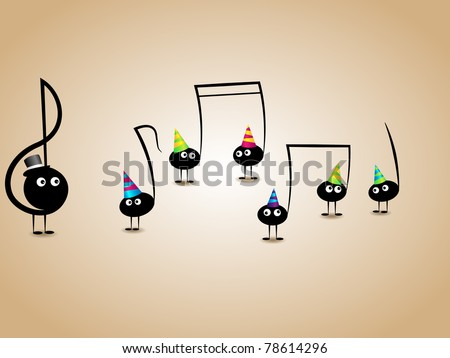 Vector musical greeting card with funny notes