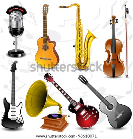 Vector musical icons - stock vector