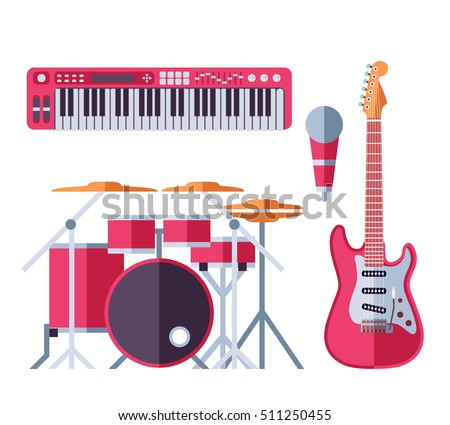 vector musical instruments flat