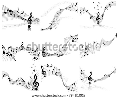 Vector musical note staff background set for design use