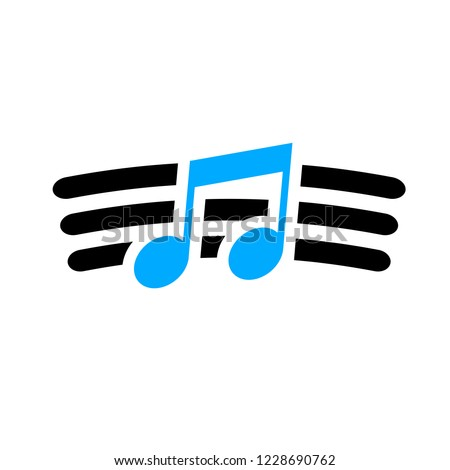 vector musical note symbol - melody sign abstract - music icon