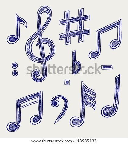 Vector musical notes. Doodle style