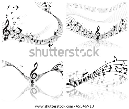 Vector musical notes staff backgrounds set for design use