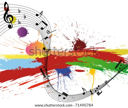 Vector musical notes staff on grunge background for design use