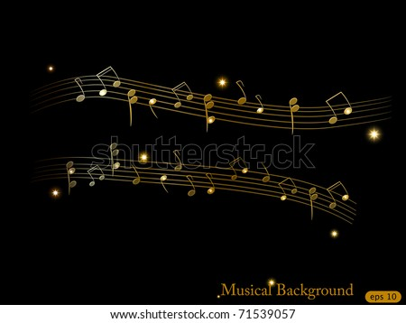 Vector musical shiny gold background