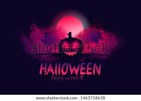 vector mystical illustration. background fog on background bloody moon with silhouettes of scary characters pumpkin, witch, zombie hand. Halloween party graphics design.