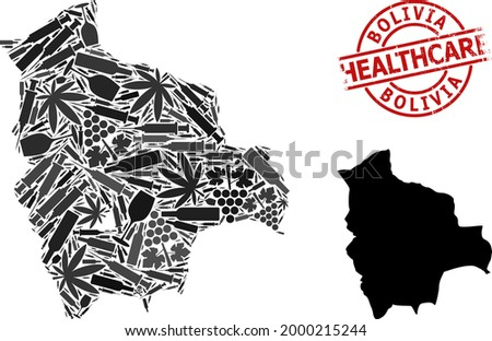 Vector narcotic collage map of Bolivia. Rubber health care round red rubber imitation. Template for narcotic addiction and health care projects. Map of Bolivia is organized of inoculation syringes, Stock photo ©
