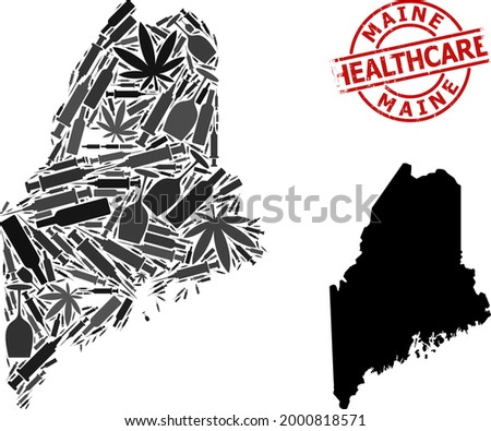 Vector narcotic collage map of Maine State. Grunge healthcare round red imprint. Concept for narcotic addiction and safety posters. Map of Maine State is constructed from injection syringes, skull, Stock photo ©