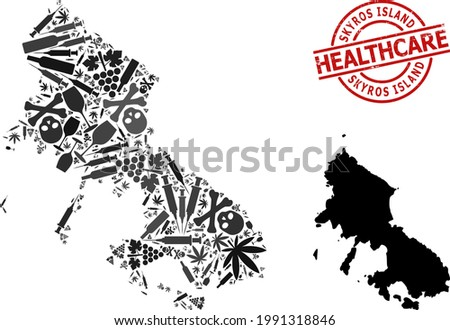 Vector narcotic collage map of Skyros Island. Rubber healthcare round red rubber imitation. Concept for narcotic addiction and drugs proclamations. Stock photo ©