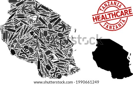 Vector narcotic collage map of Tanzania. Grunge health care round red seal stamp. Concept for narcotic addiction and medical promotion. Map of Tanzania is done of inoculation needles, poison, Stock photo ©