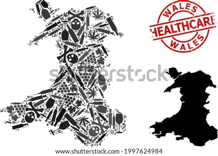 Vector narcotic collage map of Wales. Scratched healthcare round red rubber imitation. Concept for narcotic addiction and healthcare propaganda. Map of Wales is constructed from inoculation needles, Stock photo ©