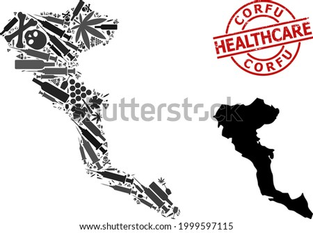 Vector narcotic composition map of Corfu Island. Grunge healthcare round red imprint. Concept for narcotic addiction and medicine applications. Map of Corfu Island is shaped from injection syringes, Stock photo ©
