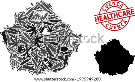 Vector narcotic composition map of Cuenca Province. Rubber healthcare round red imprint. Concept for narcotic addiction and healthcare proclamations. Stock photo ©