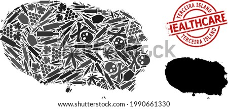 Vector narcotic composition map of Terceira Island. Grunge health care round red badge. Template for narcotic addiction and health care applications. Stock photo ©