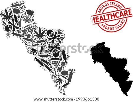 Vector narcotic mosaic map of Greece - Andros Island. Rubber healthcare round red seal. Template for narcotic addiction and medicine purposes. Stock photo ©