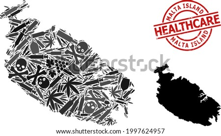 Vector narcotic mosaic map of Malta Island. Grunge health care round red seal. Template for narcotic addiction and health care purposes. Map of Malta Island is designed from injection needles, deadly, Stock photo ©