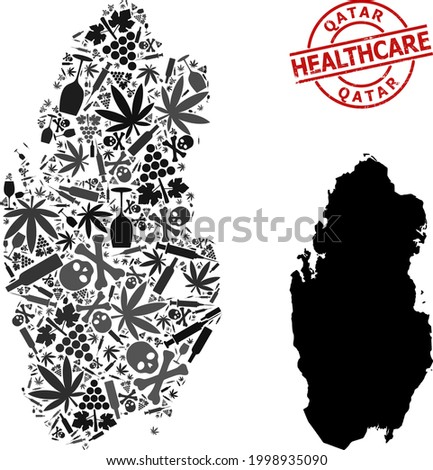 Vector narcotic mosaic map of Qatar. Scratched healthcare round red rubber imitation. Template for narcotic addiction and medicine projects. Map of Qatar is designed of inoculation needles, skull, Stock photo ©