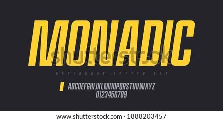 Vector narrow sans serif font, uppercase letter set, alphabet, typography.