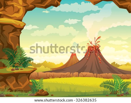 Vector natural illustration - prehistoric landscape with cave, smoky volcanoes and green grass on a cloudy sky.