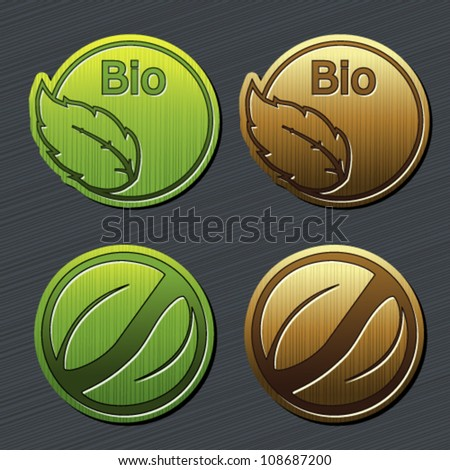 Vector natural labels with leaf - bio stickers