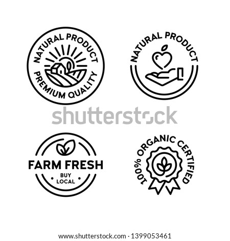 Vector natural product icon label set. 100 percent organic certified. Farm fresh, buy local. Line premium quality logo badges with green leaves. Eco bio food emblems for farmers market, healthy goods